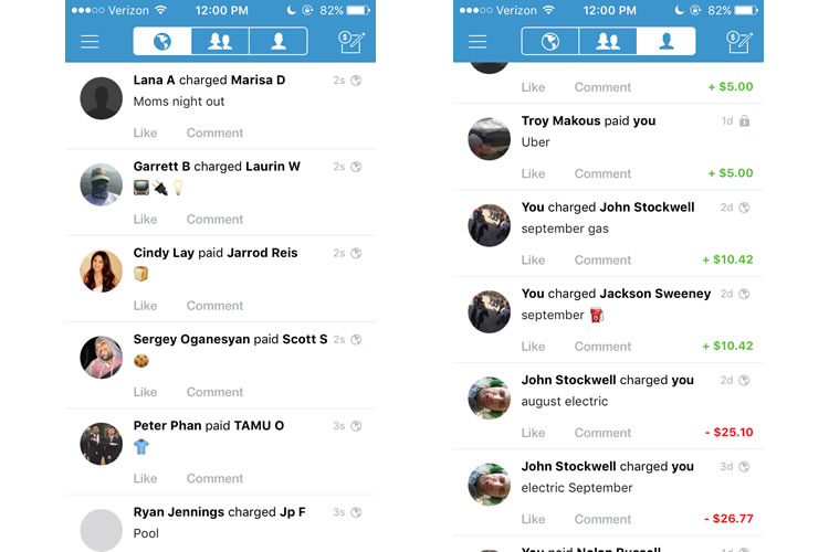 Venmo is a social media-like platform for peer-to-peer transactions.