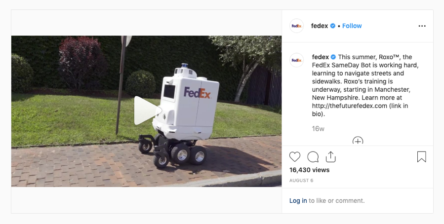 FedEx Instagram Robot Demonstration