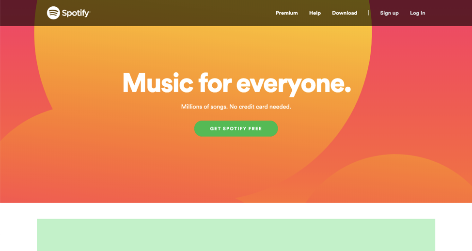 spotify music for everyone call to action