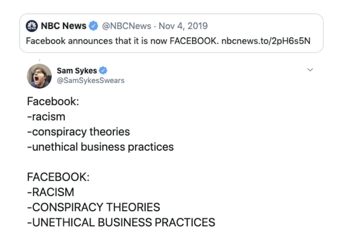 NBC News Tweet FACEBOOK Logo Redesign