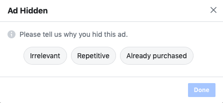facebook ad feedback form