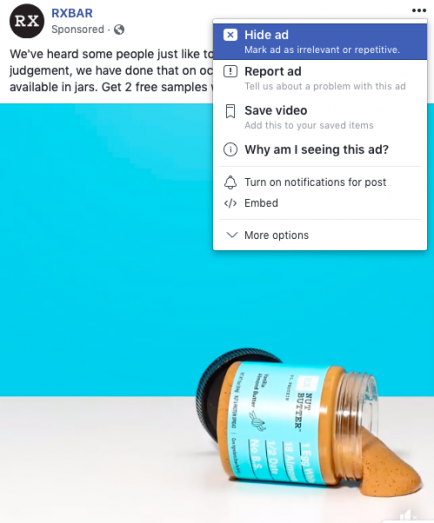 Facebook dropdown user survey on all ads