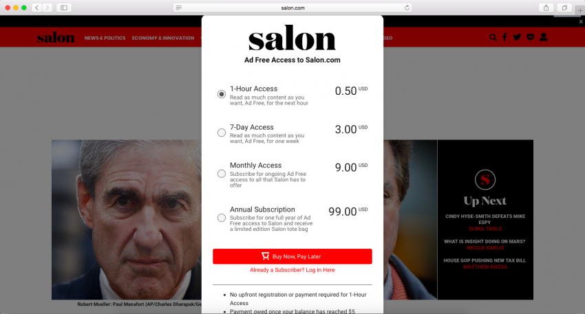 salon magazine offers an ad-free browsing experience