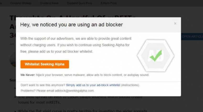 websites like SeekingAlpha give users the option to whitelist the site or continue browsing without ads