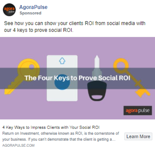 Image of a Facebook ad promoting blog post titled 4 Ways to Impress Clients with Your Social ROI