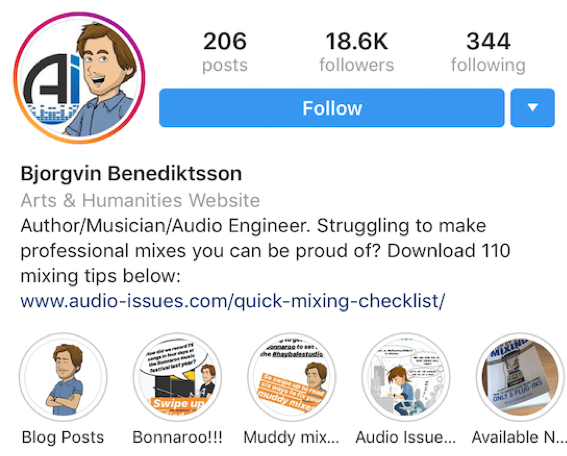 audio issues instagram biography with lead capture link