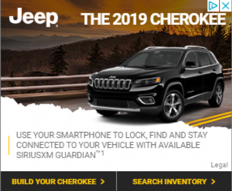 Rectangular Ad in Google Display Network giving information about a special feature of a new car model without asking you to buy the car'