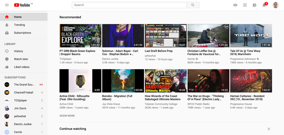 YouTube Navigation Example