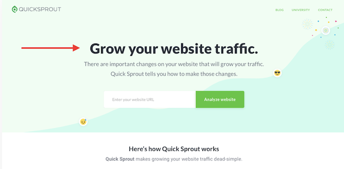 QuickSprout landing page
