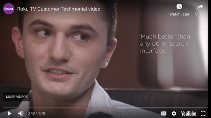 Roku TV customer testimonial video