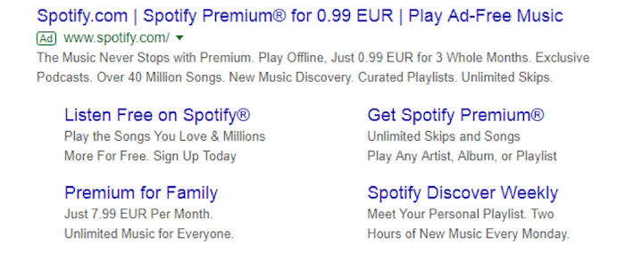 Snapshot of expanded Google Search ad with 3 headlines, 2 descriptions, callout extensions, and site links.