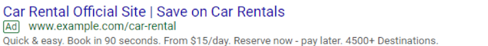 Example of expanded Google Search ad with no 3rd headline, 2nd description or use of extensions.