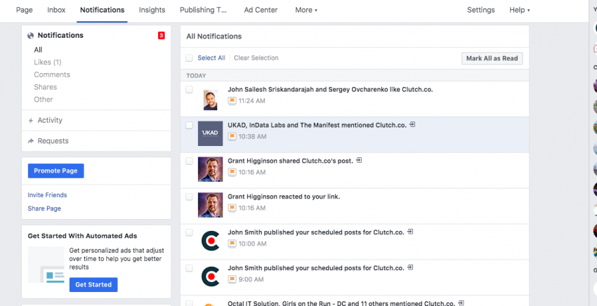 Facebook's notifications make it easy for businesses to track their efforts