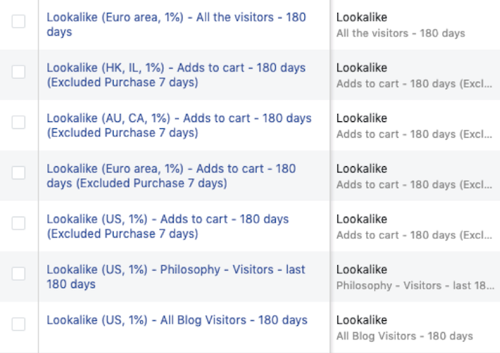 Image of lookalike audiences in Facebook Ads of website visitors, add-to-cart and interests