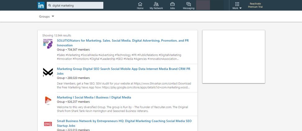 Search for LinkedIn groups related to your field or industry.